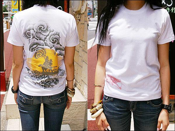 戦国Tシャツ【越後の龍・上杉謙信・第4弾】白女性着用